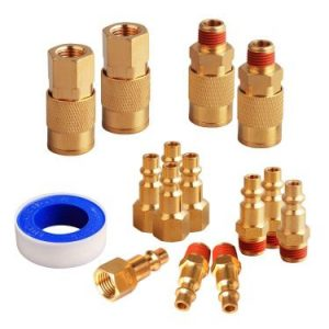 FYPower 15 Pieces 1-4 inch NPT Air Coupler and Plug Kit, Quick Connect Air Fittings