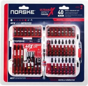 Norske Tools NIBPI708 40-Piece Impact Torsion Screwdriver Bit Set