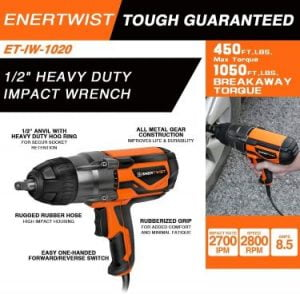 Enertwist Electric Impact Wrench 1_2 Inch with Hog Ring Anvil